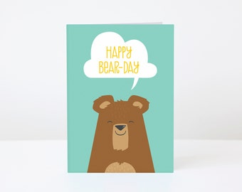 Happy Bear Day greeting card - blank birthday card, A6 size