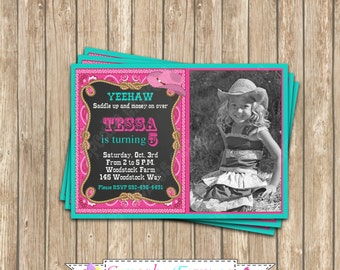 Cowgirl  Printable Birthday  Party Photo chalkboard Invitation #5  by Cupcake Express DIY teal pink brown western
