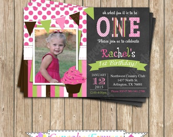 Cupcake Invitation Birthday Party  PRINTABLE chalkboard Invitation 5x7 4x6 pink green brown GIRL first 1st