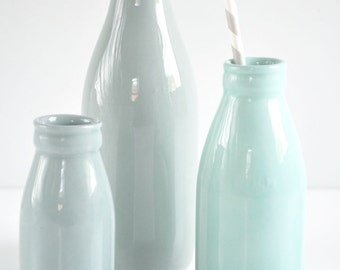Large ceramic milk bottle