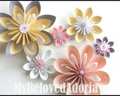 Set of 6 Wall Flowers wall decorations in soft pink, yellow, white and grey