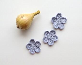 Crochet Flower Appliques, GIANT Flower, Dreamy Grey Large Crochet Flower Motif, PALM SIZED Bloom, Set of 3