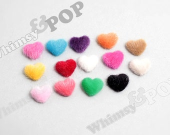 Mixed Colors Plush Fuzzy Furry Heart Button Flatback Deco Cabochons, Heart Button Cabochons, 17mm x 20mm (R7-018)