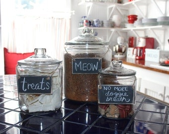 Set of 3 Wooden Pet Food Storage Labels - Distressed Chalkboard