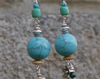 Tribal Ethnic Gemstone and Silver Boho Earrings