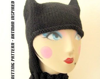 Knitting Pattern Batman Scarf : Knit batman hat Etsy