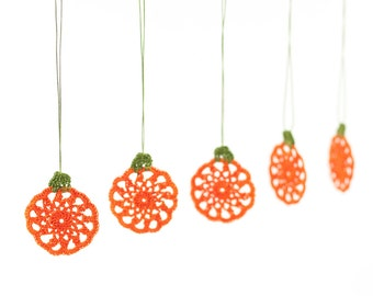 Ornaments-Handmade Crochet Pumpkin Ornaments,Halloween Decoration,Autumn,Fall,Fiber Art,Thanksgiving Decorations,Set of 5