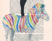 Audrey Hepburn standing on colorfull zebra Acrylic paintings Illustration Original Prints Drawing Giclee Posters Mixed Media Art Valentine's