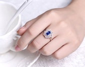 Blue Sapphire Engagement Ring 14k White Gold or Yellow Gold Natural Sapphire Ring September Birthstone