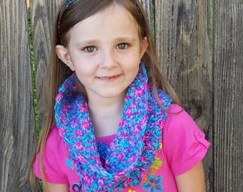 Maribella Infinity Scarf, Crocheted in Pink, Purple and Blue