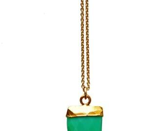 chrysoprase tiny horn necklace