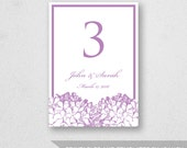 Table Number Template Printable - INSTANT DOWNLOAD - For Word and Pages - Mac and PC - Hydrangea - 5 x 7 inches
