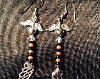 Angel wing and vintage pearl earrings