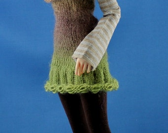 PATTERN for knitted Drop Stitch Dress with Collar