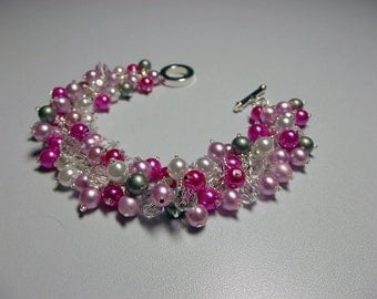 Hot Pink White Green Pearl and Crystal Bracelet, Bridesmaid LAST ONE Valentines Christmas Mom Sister Grandmother Girlfriend Jewelry Gift