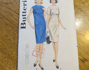 "1960s MODERN / Minimalist Fitted Sheath Dress / Funky Go-Go Shift Dress - Size 14 (Bust 34"") - VINTAGE Sewing Pattern Butterick 3175"