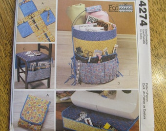 Fat Quarter SEWING Accessories - Craft or Tool Bucket Carrier, Chair Seat Organizer, Pincushion - UNCUT Sewing Pattern McCalls 4274
