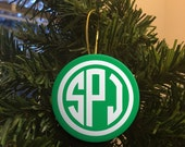 Green Circle Monogram Christmas Ornament  - Custom Ornament Design