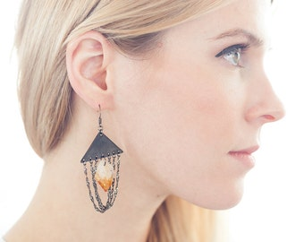 Triangle Black Patina Raw Citrine Quartz Earrings with Draping Chains - Amy