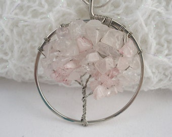 Rose Quartz Tree of Life Pendant, Silver Wire Wrapped Tree Pendant, Rose Quartz Pendant