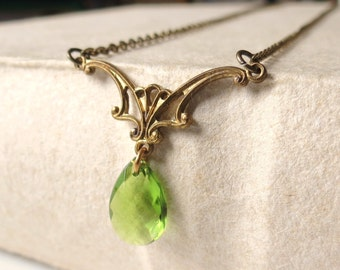 Lord golden light green of the regency necklace - rings xmas gift for her -