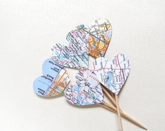 Road Map Cupcake Toppers, US Canada, Atlas, Party Decor, Weddings, Showers, Birthdays, Travel, Set of 15
