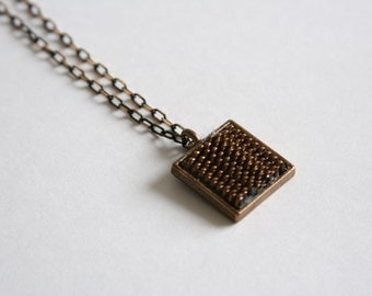 Zipper Pendant Necklace Rustic Chic Necklace - made with a zipper in a bezel