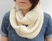 Knit Scarf, Infinity Scarf, Wool Scarf, Women's Scarf, Loop Scarf, Circular Scarf, Ecru Scarf, Undyed Wool