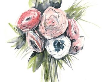 flower bouquet - watercolor art print - 8 x 10 inch giclee archival print