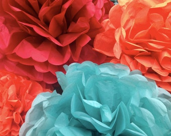 Tissue paper pompoms, woodland baby shower, boy baby shower, fall wedding decorations, outdoor wedding decorations, paper decorations