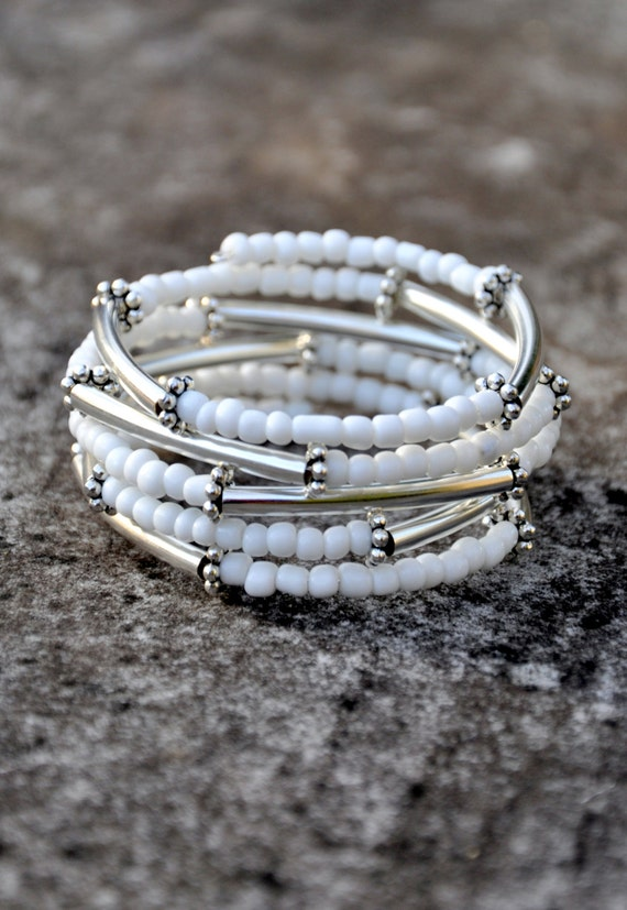 White Beaded Silver Bar Boho Wrap Bracelet