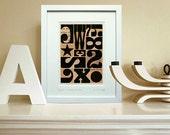 "Typographic ephemera, Mid Century black geometric small abstract print - fine art giclée, 8 x 10"" mount. Title: 'Signals Woodside New York'"