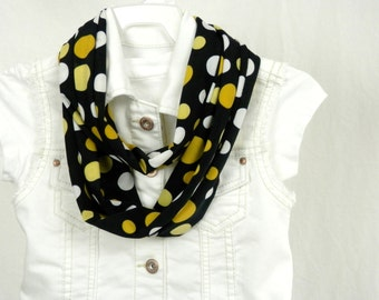Girls Playful Polka Dot Infinity Scarf with Yellow and White Polka Dots on Black Handmade by Thimbledoodle