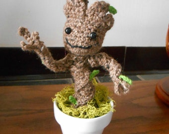 Baby Groot Inspired Amigurumi - MADE to ORDER- Tree, Guardians, pose-able statue