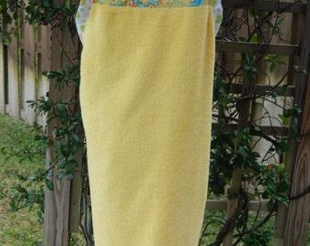 Baby Bath Apron Towel, Yellow, Green, Blue Rubber Duckies