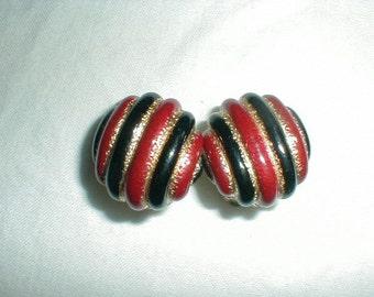 vintage ciner earrings red earrings black earrings gold earrings clip on earrings button earrings colorful striped earrings ciner jewelry