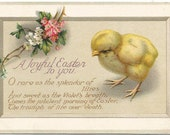 "Antique Easter Greeting Postcard ""A Joyful Easter To You"" Baby Easter Chick 1920"