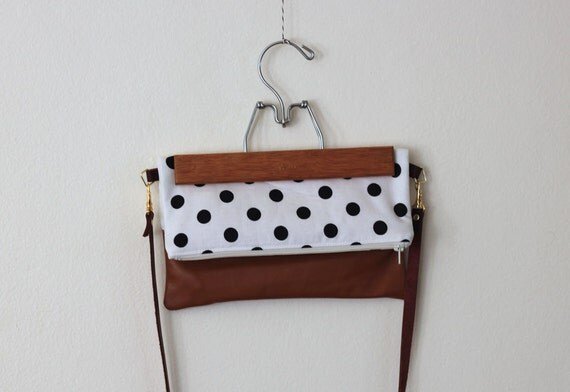 polka dot and brown leather crossbody bag // black and white polka dot foldover purse by rouge and whimsy
