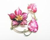 Pink Flower Brooch 12K Gold over Sterling and  Mother of Pearl - Vintage Ocean Treasures Pin