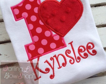 Valentine Birthday Bodysuit or Shirt -- Valentine theme birthday bodysuit or shirt -- red and pink with heart and name