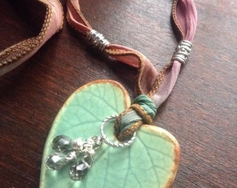 Ceramic leaf silk ribbon necklace