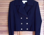 Double Breasted Cropped Wool Jacket Military Style by Casual Corner