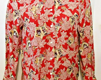 Victorian/Cameo Print/Lace Collar/Blouse/Hipster/Size 6/Red/Magazine/Toile