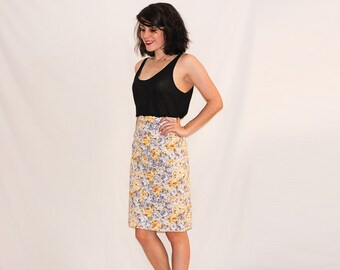 Vintage Pastel Floral Print Skirt