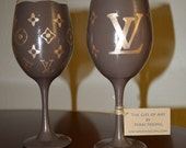 Listing for SUE ONLY Louis Vuitton Inspired Wine Glass Set of two hand painted glasses Handbag logo brown metallic gold LV logo Vuitton