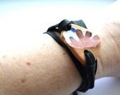 Deerskin and Greek Beach Pottery wrap Bracelet