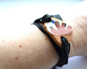 Deerskin Leather and Greek Beach Pottery wrap Bracelet or Necklace