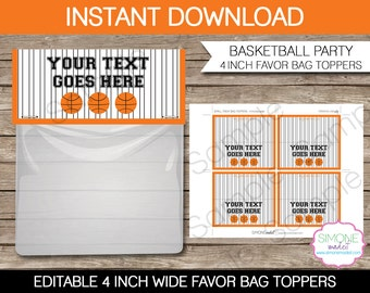 Basketball Party Favors Bag Toppers - 4 inches wide - INSTANT DOWNLOAD with EDITABLE text - you personalize at home using Adobe Reader