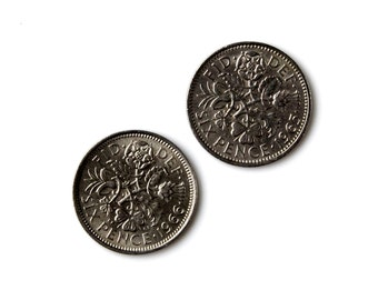 Six Pence Coin Cufflinks - Men's Jewelry - Handmade - Gift Box Included