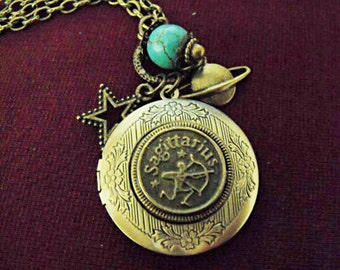 Bronze Locket Necklace,  Zodiac Symbol Sagittarius With Turquoise Bead And Charms  Womens Gift  Handmade